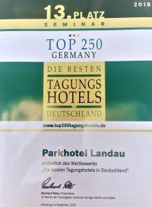 Beim Wettbewerb 2018 erreicht das Parkhotel Landau in der Kategorie Seminar den 13. Platz